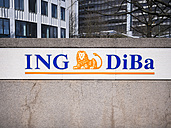 Germany, Frankfurt, wall with sign of ING DiBa - AM003954