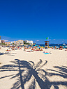 Spain, Baleares, Mallorca, Magaluf, view to bustling beach - AMF003957