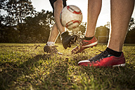 Legs of soccer players on soccer pitch - GCF000064