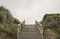 Spain, Ferrol, wooden staircase into the sky - RAE000132