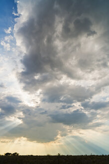 Namibia, Etosha National Park, Sunbeams behind clouds - CLPF000121