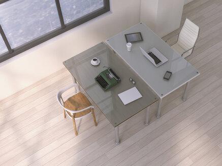 Two desks with different equipments, 3D Rendering - UWF000435