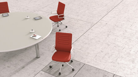 Conference table with different working appliances, 3D Rendering - UWF000438