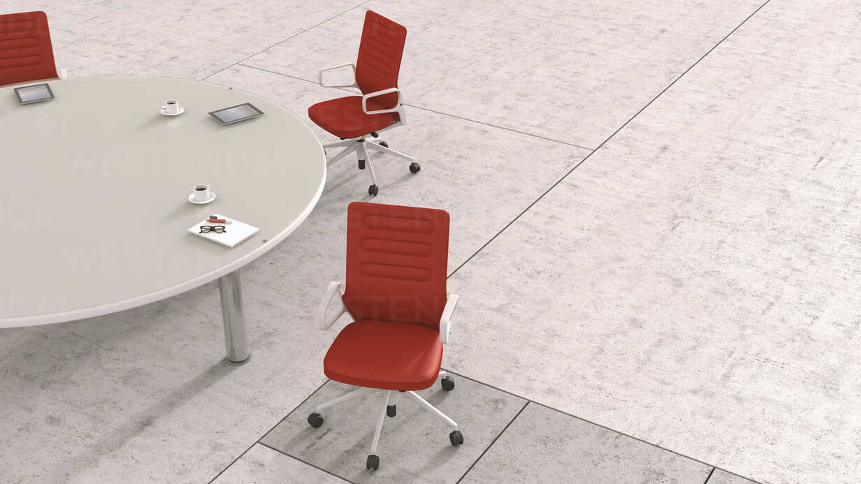 Conference table with different working appliances, 3D Rendering - UWF000438 - HuberStarke/Westend61