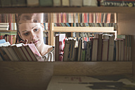 Female student searching books in the library - DEGF000404