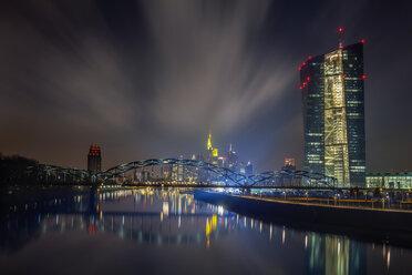 Germany, Hesse, Frankfurt, ECB Tower at night - NKF000235