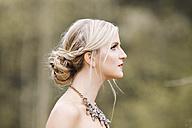 Profile of blond woman, updo - DAWF000332