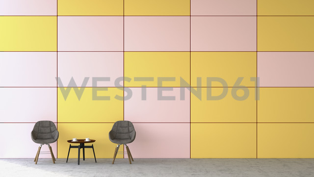 Waiting area with two chairs and a side table in front of coloured wall, 3D Rendering - UWF000446 - HuberStarke/Westend61