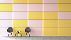 Waiting area with two chairs and a side table in front of coloured wall, 3D Rendering - UWF000446