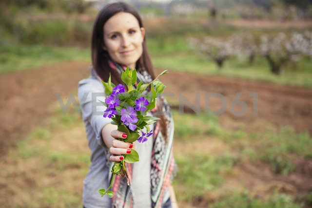 Woman in countryside holding bunch of periwinkles - GEMF000219