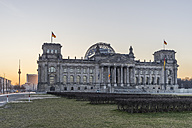 Germany, Berlin, Berlin-Tiergarten, Reichstag building and Berlin TV Tower in the morning - PVCF000413
