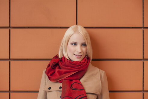 Portrait of young woman with red scarf - MMFF000830