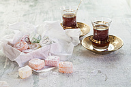 Two glasses of Turkish black tea and sweets - SBDF001787