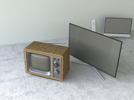 Old-fashioned tube television and modern flatscreen TVs, 3D Rendering - UWF000449