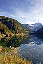 Austria, Salzkammergut, Lake Vorderer Gosausee with Dachstein mountains in background - LHF000465