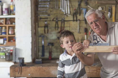 Grandfather and grandson working with wood in a garage - ZEF004603