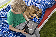 Dog lying on bed with boy using digital tablet - PDF000935