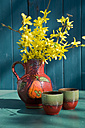 Old Seventies jar with blossoming twigs of Forsythia - GISF000112