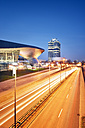 Germany, Bavaria, Munich, BMW World and BMW Tower at blue hour - BR001213