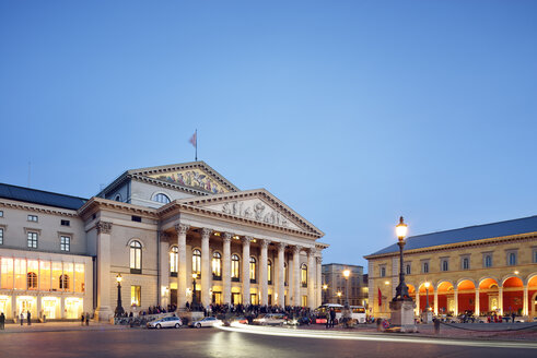 Germany, Bavaria, Munich, National Theatre at blue hour - BRF001218