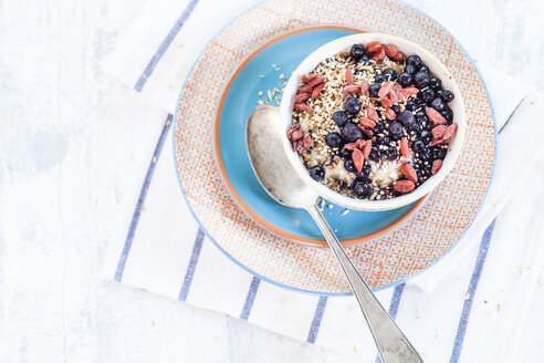 Vegan superfood breakfast with porridge, almond milk, blueberries, roasted quinoa, and goji berries - SBDF001810
