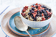 Vegan superfood breakfast with porridge, almond milk, blueberries, roasted quinoa, and goji berries - SBDF001814