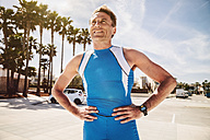 Spain, Mallorca, Sa Coma, portrait of triathlet - MFF001620