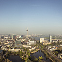 Germany, Dusseldorf, aerial view of the city with River Rhine and Rhine Tower - DWIF000485
