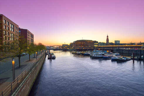 Germany, Hamburg, Binnenhafen at sunset - RJF000435