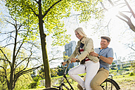 Mature couple riding bike in park, man sitting on rack - UUF004124
