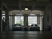 Porsche 911, Porsche 356 and a Harley Davidson parking in a loft garage - BSC000453