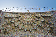 Iran, Shiraz, Vakil mosque, tile decorations of the front door ceiling - FLF000952