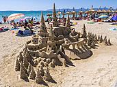 Spain, Baleares, Mallorca, El Arenal, Platja de Palma, sandcastle - AM003995