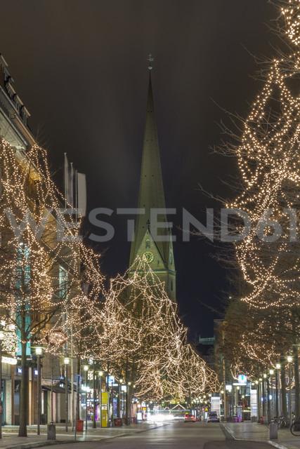 Germany, Hamburg, shopping street Moenckebergstrasse at Christmas time - NKF000240