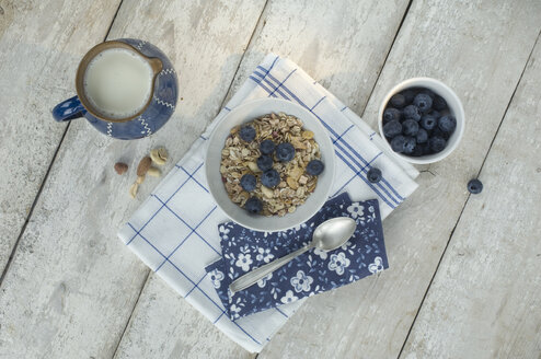 Bowl of granola and blueberries - ASF005589