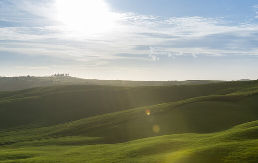 Italy, Tuscany, Val d'Orcia, rolling landscape at backlight - MKFF000197