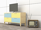 3D Rendering, old tv, modern flatscreen tv on wardrobe - UWF000469