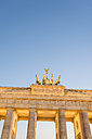 Germany, Berlin, Berlin-Mitte, Brandenburg Gate, Quadriga, seen from Pariser Platz in the evening - EGBF000078
