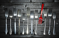 Row of different silver forks and a red plastic fork on wood - KSWF001523