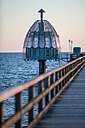 Germany, Mecklenburg-Western Pomerania, Baltic Sea, diving bell at the pier of Zinnowitz at dawn - ASCF000163