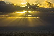 Portugal, Cabo da Roca, rays breaking through the clouds - RUNF000072
