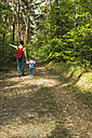 Father and daughter hiking in forest - UUF004263