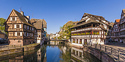 France, Alsace, Strasbourg, La Petite France, Half-timbered houses and L'Ill river - WDF003108