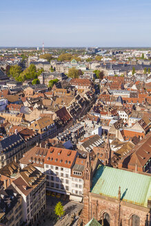 France, Alsace, Strasbourg, View over Old Town to European Quarter - WDF003114