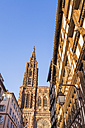 France, Alsace, Strasbourg, Strasbourg Cathedral and half-timbered house - WDF003116