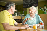 Senior couple communicating in a cafe - TOYF000733