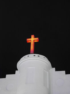 Taiwan, lighted crucifix on a white church by night - JMF000348