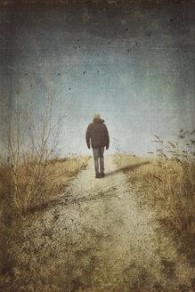 Man walking on foot path, rear view - DWIF000499