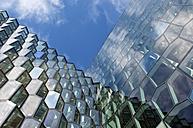 Iceland, Reykjavik, facade of Harpa concert hall - JED000237