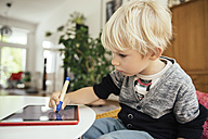 Little boy drawing with a digital pen on digital tablet at home - MFF001629